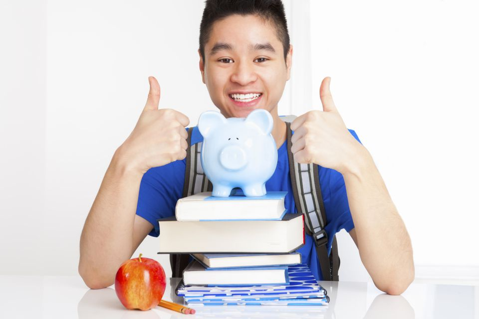 Asian college student with books