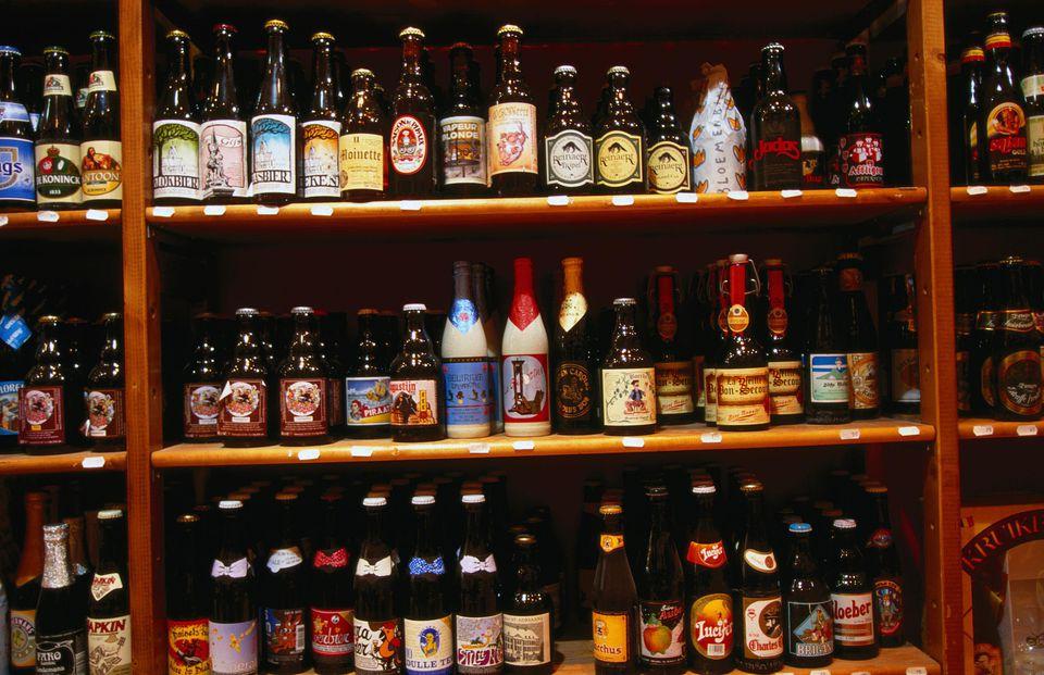 beer bottles on display in store