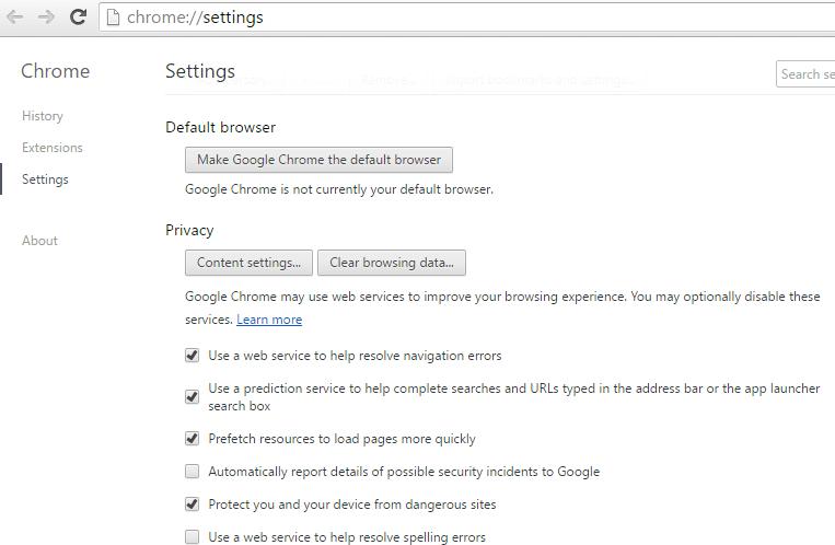 Chrome web prediction services