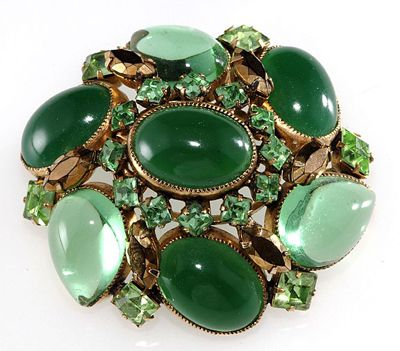 Schreiner Brooch with Oval and Pear-Shaped Cabochons