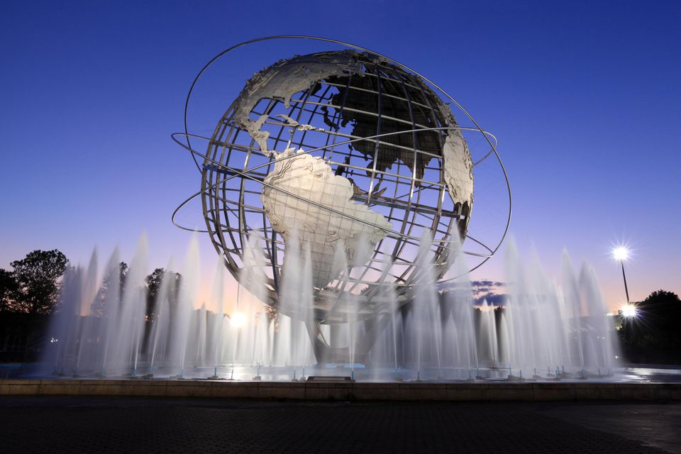 he Unisphere in Flushing Meadows ? Corona Park, Queens, New York Citywas built for the 1964?1965 New York World's Fair as a steel representation of the Earth.