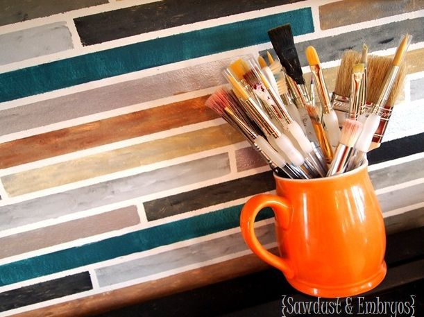 Artistically Painted Backsplash