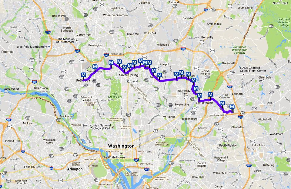 DC Metro Purple Line Map Light Rail in Maryland