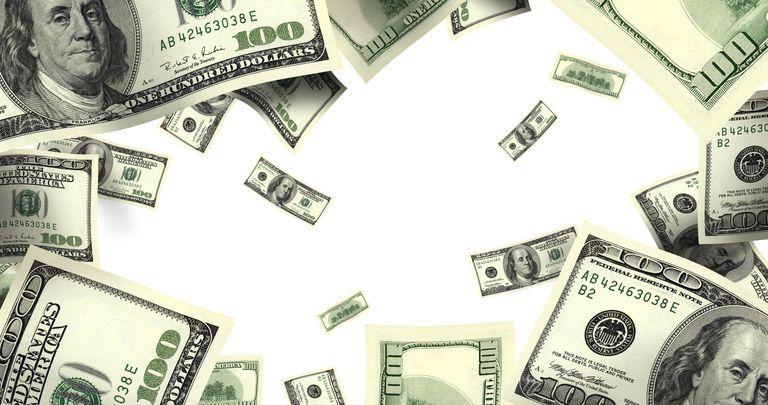 flying money over white