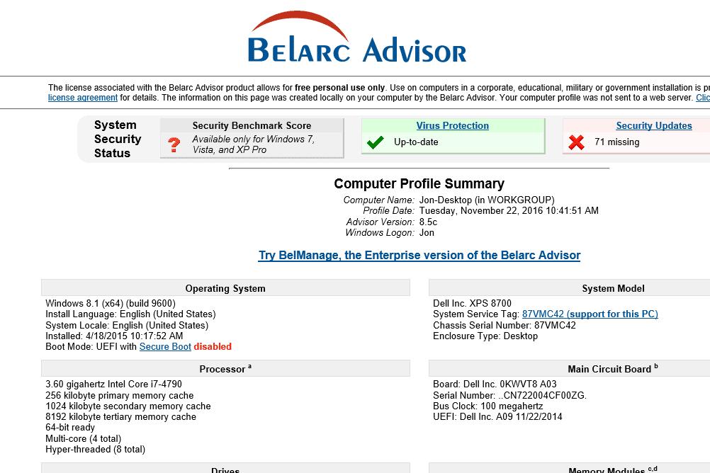 belarc advisor v8 6b review  a free system info tool