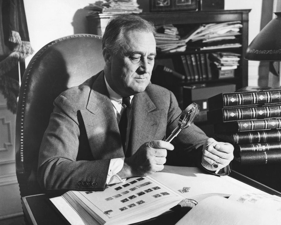 President Franklin Roosevelt with His Stamp Collection