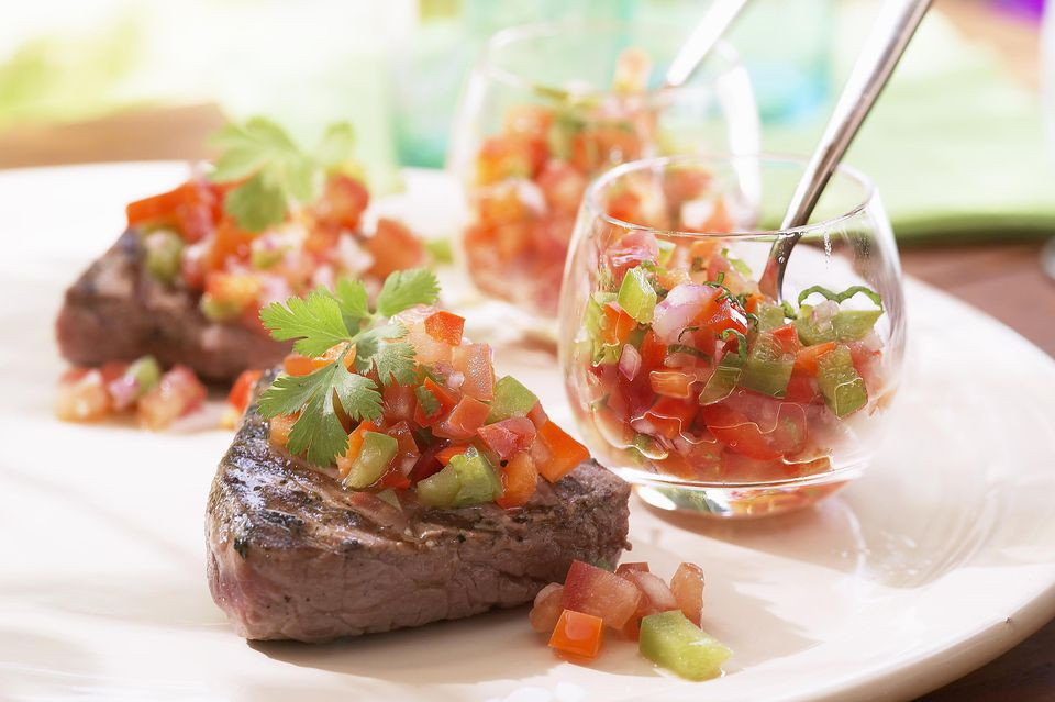 Beef fillet with mixed pepper salsa