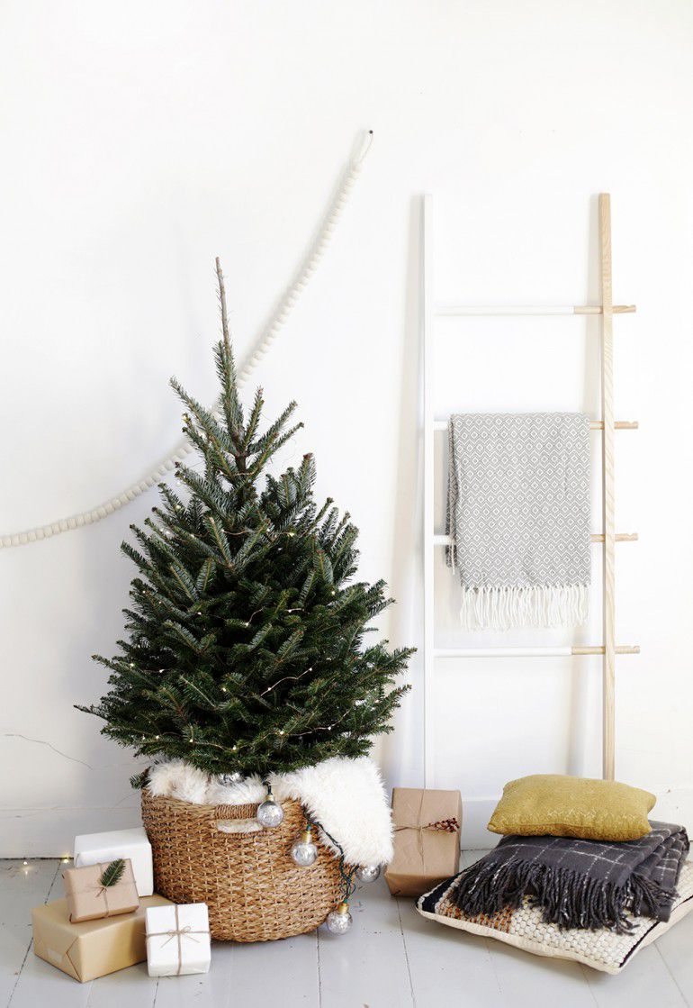 A modern christmas tree in a basket