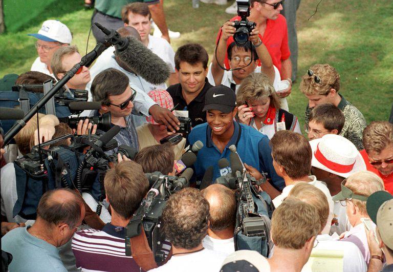 Tiger Woods was the center of attention when he made his pro debut at the 1996 Greater Milwaukee Open.