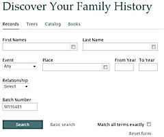 Batch number search is available via the Advanced Search page at FamilySearch.org.