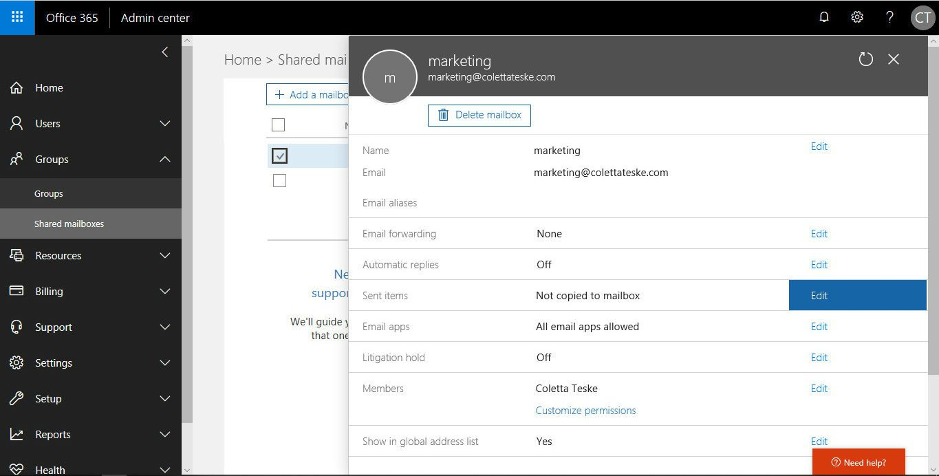 Image of the Microsoft Office 365 admin center showing the shared mailbox settings page.