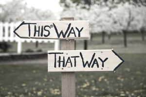 this way and that way sign post