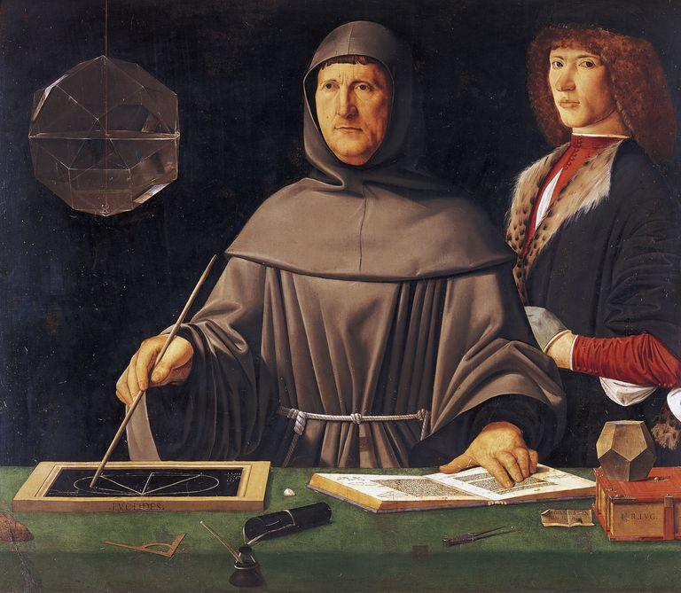 Portrait of Luca Bartolomeo de Pacioli or Paciolo (Borgo Sansepolcro, 1445 circa-Rome, 1517), Italian mathematician, Franciscan friar, Painting attributed to Jacopo de' Barbari (1460-1470 circa-1516)