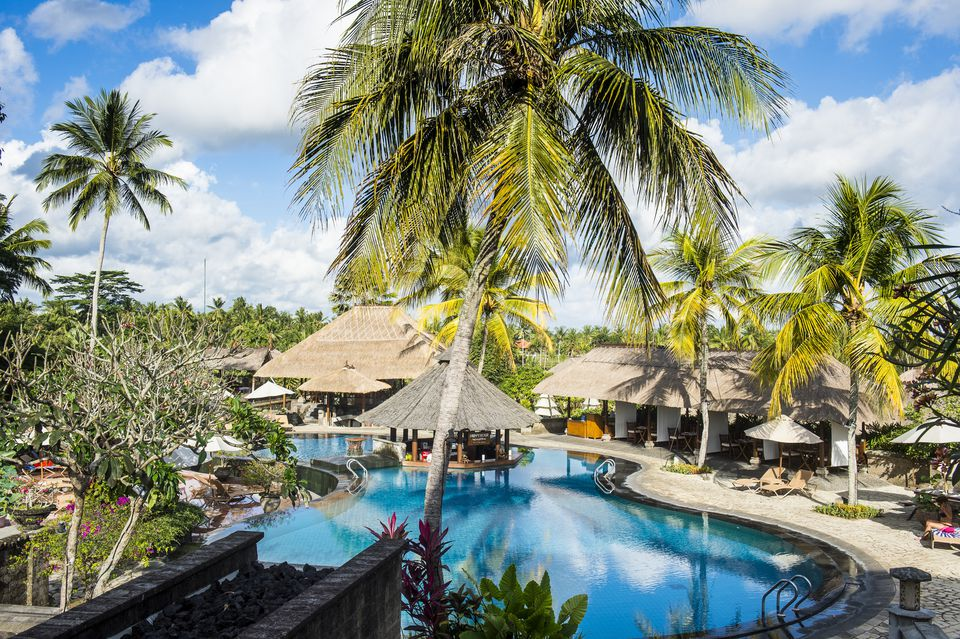 A swimming pool and hotel in Bali