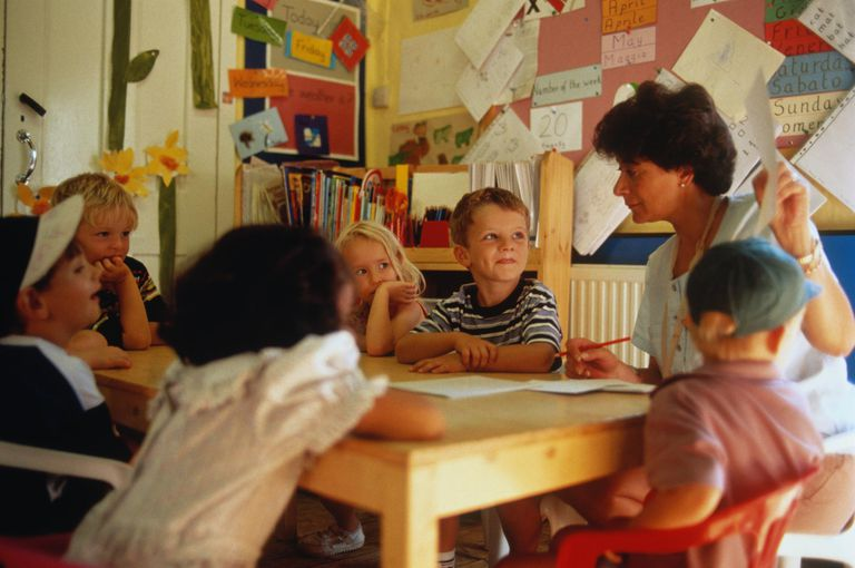 Teacher sitting at table with children (2-4) in nursery class.