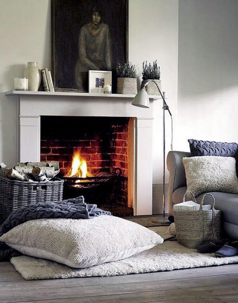 baskets next to a fireplace