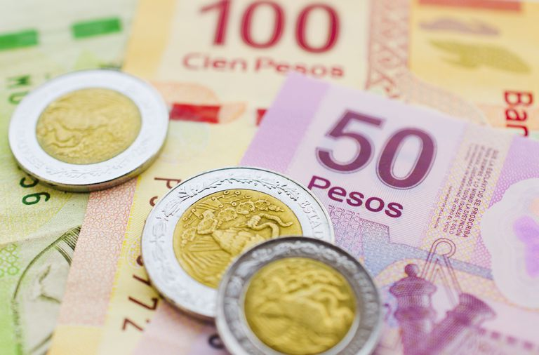 Mexican currency and coins