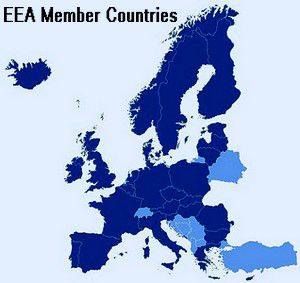 Map of the EEA: EEA Member Countries