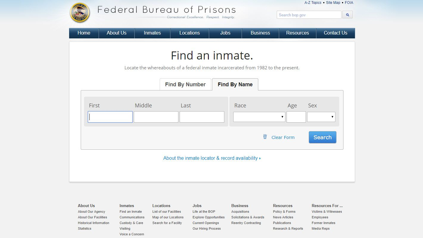 Screenshot of the Federal Bureau of Prisons Inmate Locator.