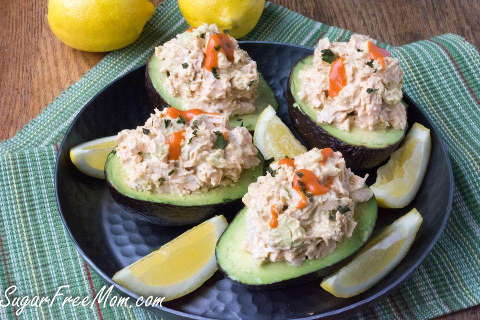 Buffalo Chicken Salad Stuffed Avocado