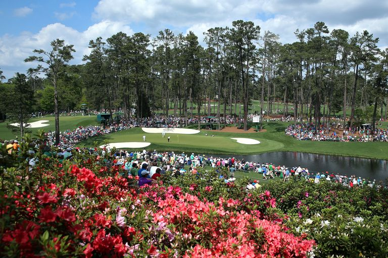 A general view of the 16th green at Augusta National during The Masters Tournament