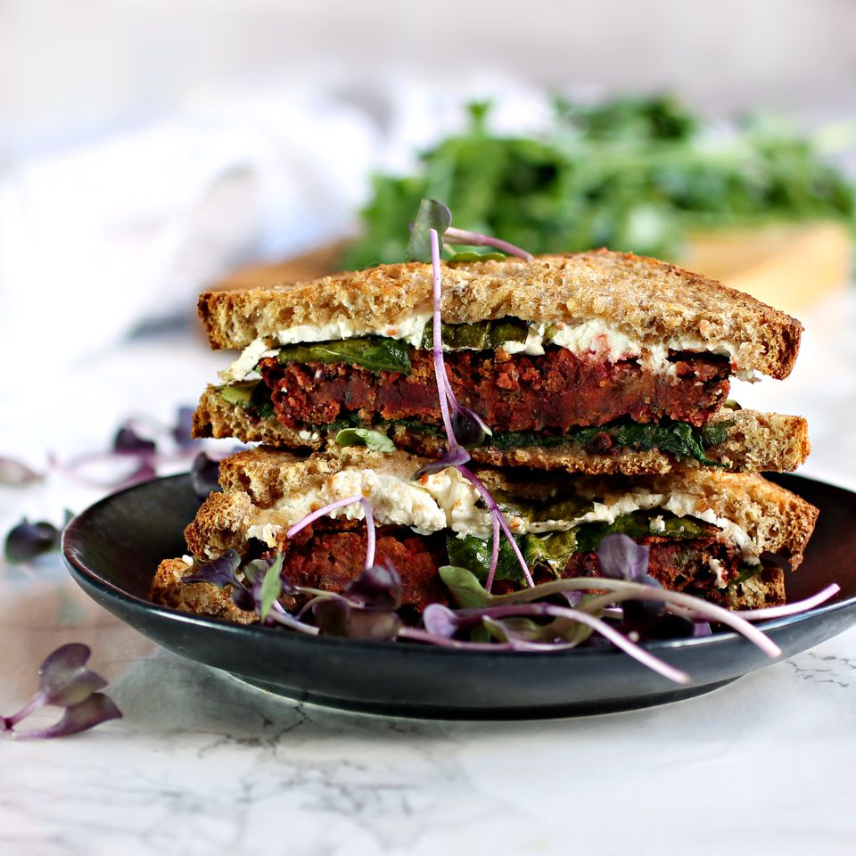 Beet and Chickpea Grilled Cheese Sandwich