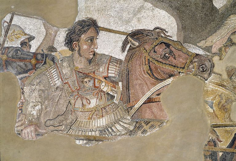 Roman art : Alexander the Great riding his horse Bucephalus