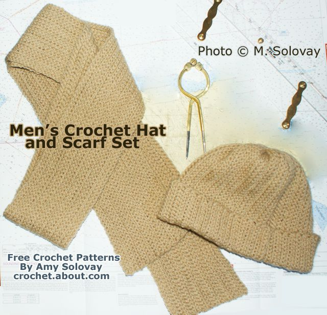 Man's Crocheted Scarf With Matching Hat