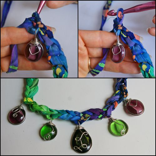 Upper Photos: Finishing the Chain Stitch. Lower Photo: A Close-Up of the Finished Necklace.