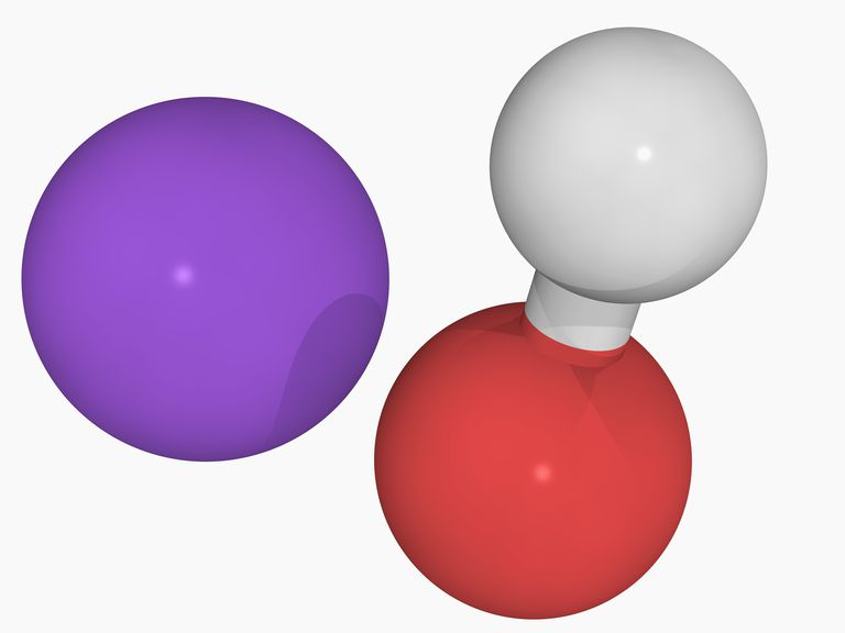 Sodium hydroxide is an example of a strong base. In water, it completely dissociates into its ions.