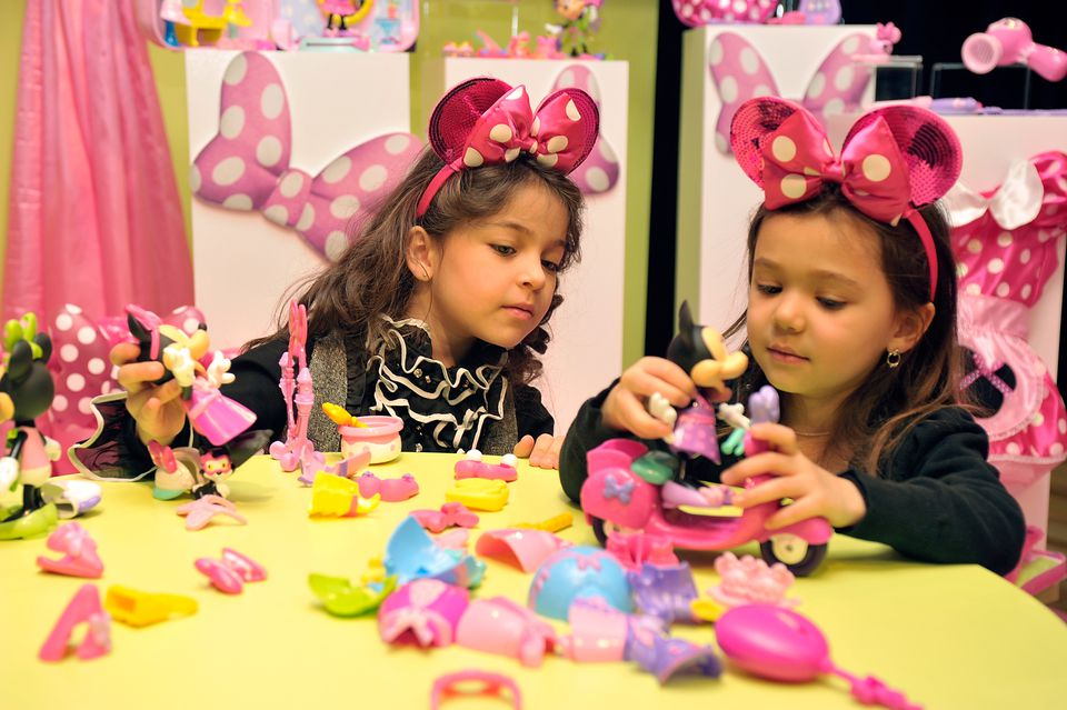 Little Girls Playing With Minnie Mouse Disney Toys