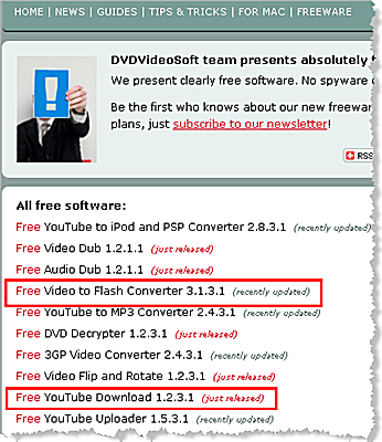 Free YouTube Converter program by dvdvideosoft.com