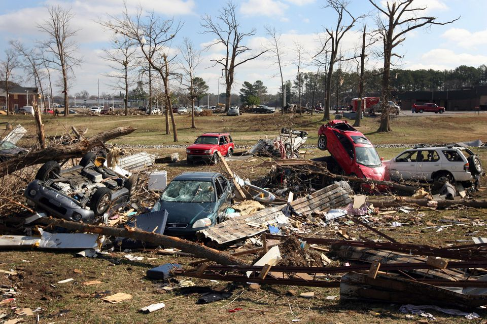 Debris litters the ground tornado ravished Union University February 7, 2008, at Union University in Jackson, Tennessee. A swarm of tornadoes torn through Arkanas, Kentucky, Mississippi and Tennessee leaving over 40 dead.