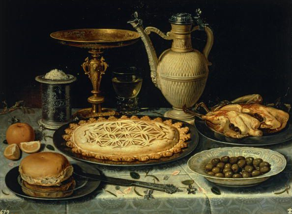 Still-life with pastry and pitcher