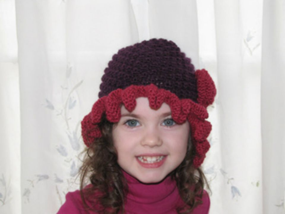 """Adult Flapper Girl Hat. This is the larger 22"""" size, shown on Hedy, a smaller 20"""" head form."""