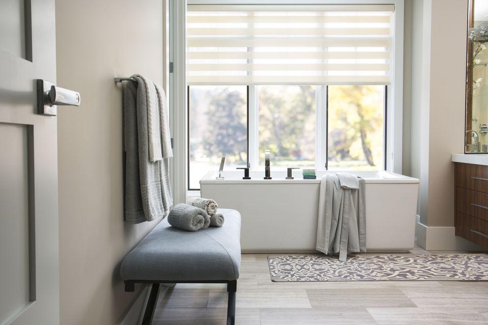 Modern bathtub in elegant bathroom