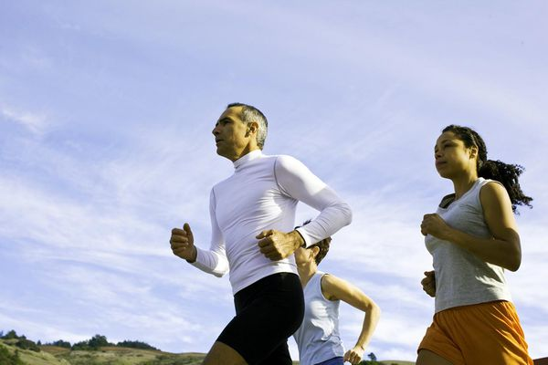 Runners training for a 5K