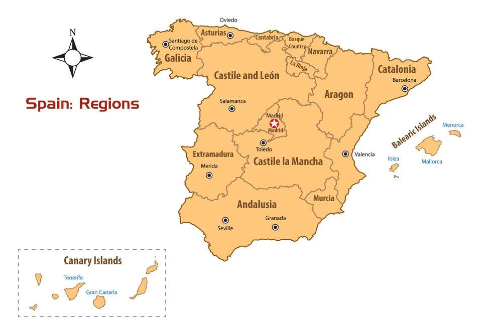 map of spain regions
