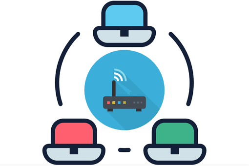 Illustration of a network with three computers and a router