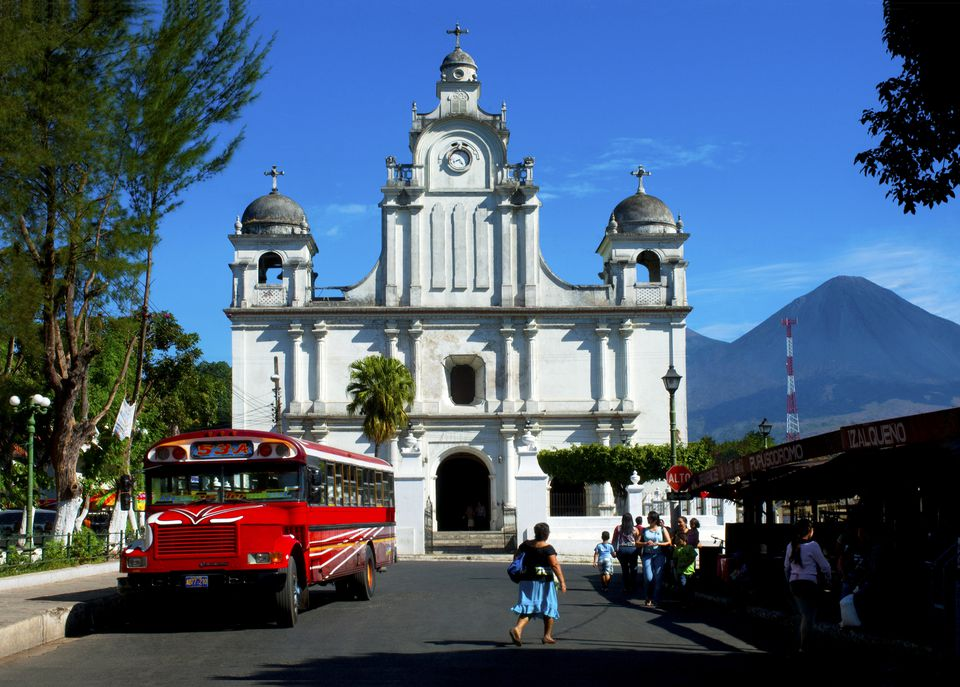 Izalco, El Salvador is a small town with indigenous roots on the southwest skirts of the Izalco Volcano. The 16th century Church Dolores of Izalco and to its right the Izalco Volcano, a national icon of the country, dominate the town's landscape.