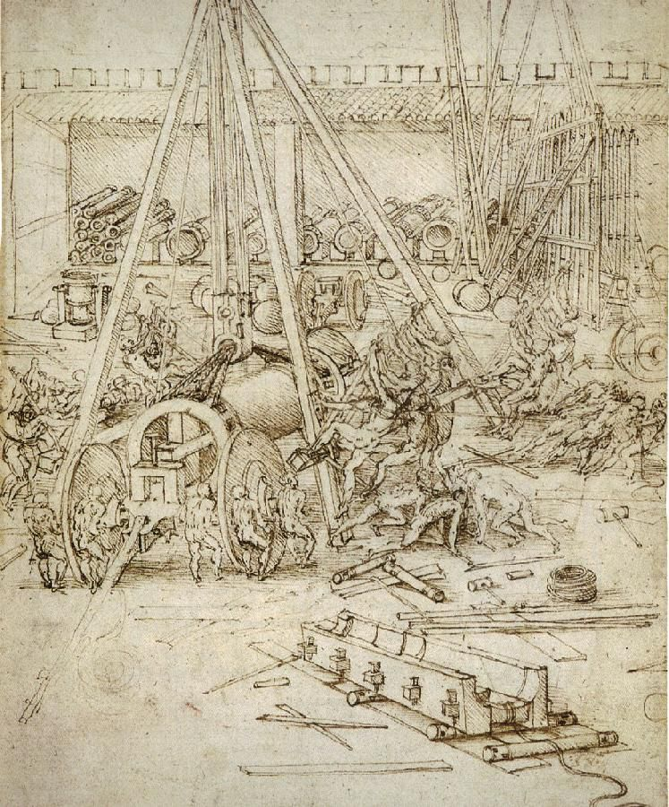 An Artillery Park is a 1487 drawing by Leonardo da Vinci.