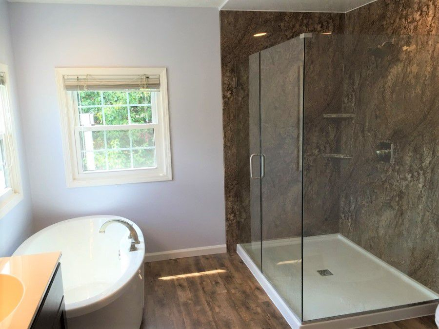 11 amazing before after bathroom remodels for Do you need a permit to remodel a bathroom