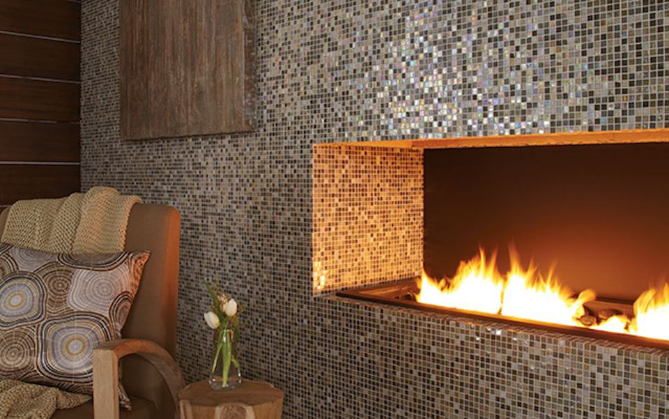 Tile Accent Wall With Fireplace