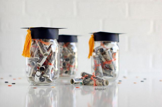 30 amazing graduation gifts that you can make diy graduation dollar diplomas gift jar negle Gallery