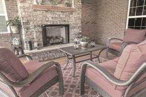 raised brick fireplace