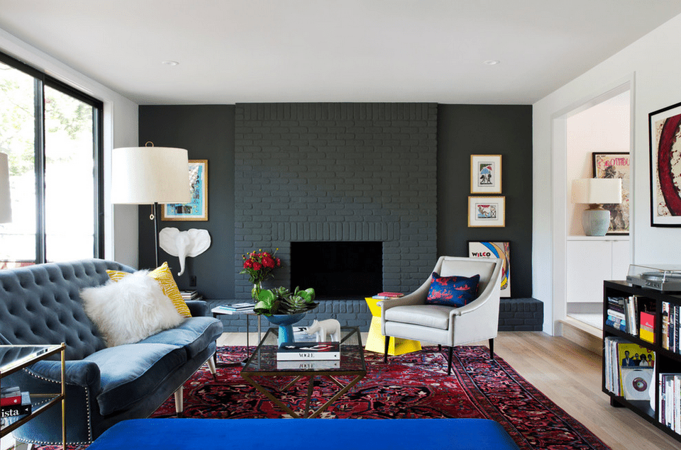 Living Room With Black Brick Fireplace