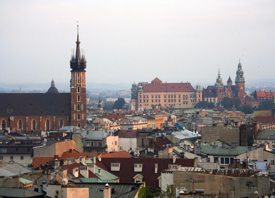 CItyline from high, Krakow, Poland