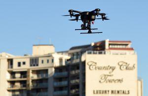 A photo of a drone n the air