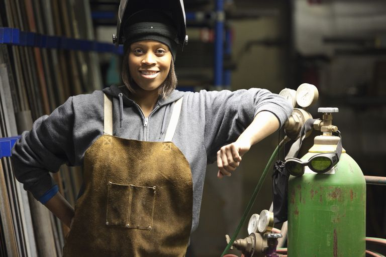 Portrait of smiling female welder