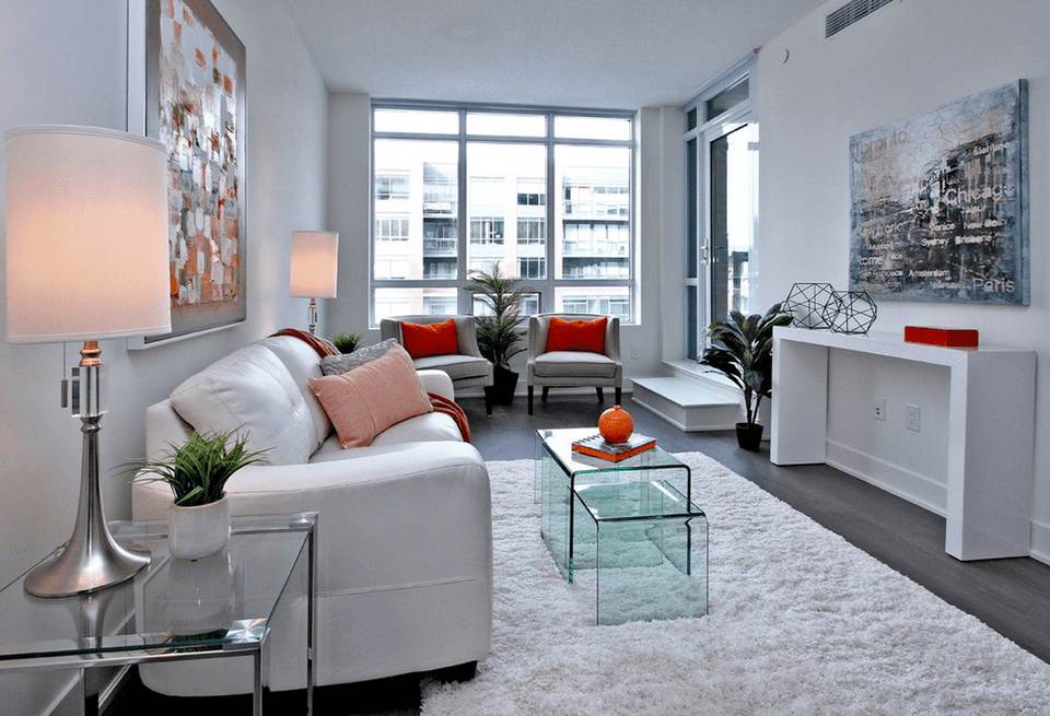 Modern white condo Lori Pederseen 58a09d095f9b58819ccaff28 - Download Modern Style Small House Modern Living Room Design PNG